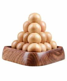 Desi Karigar Wooden Handmade Ball Pyramid Puzzle Brain Teaser - Brown