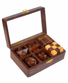 Desi Karigar Wooden 3D Puzzle Six in One Set - Brown