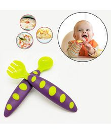Safe-O-Kid Soft Tip Silicone Spoon & Fork Pack Of 2 - Green Purple