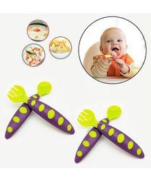 Safe-O-Kid Soft Tip Silicone Spoon & Fork Pack Of 4 - Green Purple