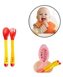 Safe-O-Kid Soft Tip Silicone Spoon & Fork Pack Of 2 - Red Yellow