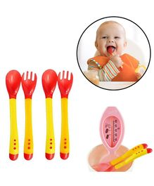 Safe-O-Kid Soft Tip Silicone Spoon & Fork Pack Of 4 - Red Yellow