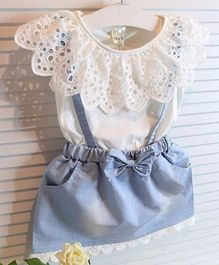 Kookie Kids Sleeveless Dungaree Style Frock Bow Applique - Blue