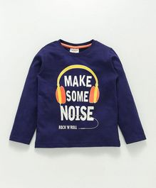 Lazy Bones Full Sleeves Tee Headphone Print - Navy Blue