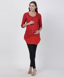 Goldstroms Checkered Three Fourth Sleeves Maternity Tunic - Red