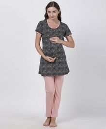 Goldstroms Half Sleeves Printed Maternity Night Suit - Black