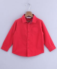 Beebay Solid Full Sleeves Front Pocket Shirt - Red
