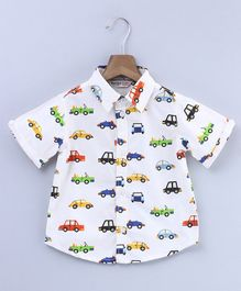 Beebay Half Sleeves Vehicle Print Shirt - White