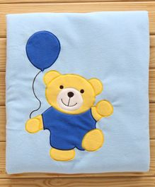 Polyester Baby Blanket Teddy Print - Blue & Yellow