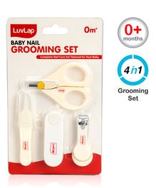 LuvLap Baby 4 In 1 Nail Grooming Set Pack Of 4 - Off White