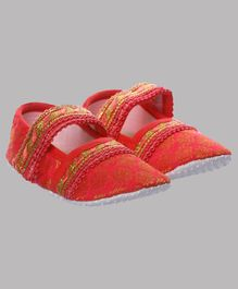 Daizy Coral Flower Design Ethnic Booties - Red