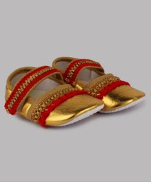 Daizy Lace Decorated Ethnic Booties - Golden & Red