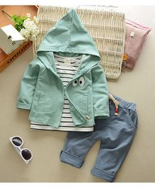 Kookie Kids Full Sleeves Tee With Lounge Pant & Jacket Striped - Light Green