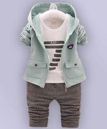 Kookie Kids Full Sleeves Tee With Lounge Pant & Jacket 7 Print- Light Green