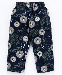 Doreme Full Length Floral Printed Pajama - Navy Blue