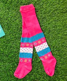 The Sandbox Clothing Co Flower Printed Footed Elasticated Stockings - Pink