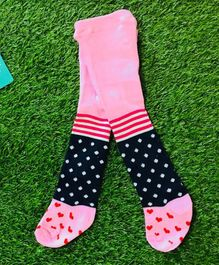 The Sandbox Clothing Co Heart Printed & Striped Footed Stockings - Pink