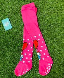 The Sandbox Clothing Co Cat Printed Footed Elasticated Stockings - Pink