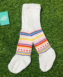 The Sandbox Clothing Co Striped Footed Elasticated Stockings - White