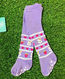 The Sandbox Clothing Co Bunny Printed Footed Stockings - Purple