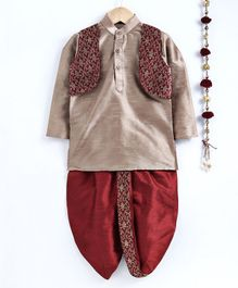 Jeet Ethnics Full Sleeves Kurta With Embroidered Jacket & Dhoti Set - Maroon