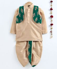 Jeet Ethnics Full Sleeves Kurta With Golden Embroidered Jacket & Dhoti Set - Green
