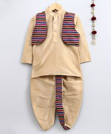 Jeet Ethnics Full Sleeves Kurta With Striped Embroidery Jacket & Dhoti Set - Multi Colour