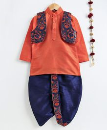 Jeet Ethnics Full Sleeves Kurta With Floral Embroidered Jacket & Dhoti Set - Orange