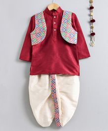 Jeet Ethnics Full Sleeves Kurta With Flower Embroidered Jacket & Dhoti Set - Pink & Off White
