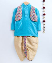 Jeet Ethnics Full Sleeves Kurta With Motif Embroidered Jacket & Dhoti Set - Light Blue & Beige
