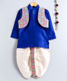 Jeet Ethnics Full Sleeves Kurta With Flower Embroidered Jacket & Dhoti Set - Off White & Blue