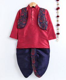 Jeet Ethnics Full Sleeves Kurta With Floral Embroidered Jacket & Dhoti Set - Pink & Navy Blue