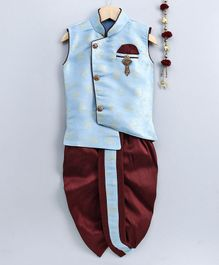Jeet Ethnics Floral Self Design Sleeveless Kurta & Dhoti Set - Light Blue