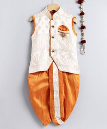 Jeet Ethnics All Over Embroidered Sleeveless Kurta With Brooch Detailing & Dhoti Set - Yellow