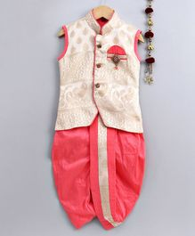 Jeet Ethnics All Over Embroidered Sleeveless Kurta With Brooch Detailing & Dhoti Set - Pink