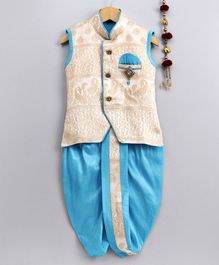 Jeet Ethnics All Over Embroidered Sleeveless Kurta With Brooch Detailing & Dhoti Set - Light Blue