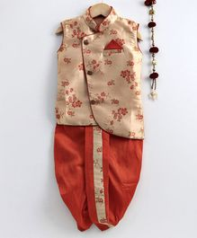 Jeet Ethnics Floral Design Sleeveless Kurta & Dhoti Set - Orange