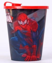 Marvel Spiderman 3D Print Sipper Cup With Lid Black Red - 400 ml