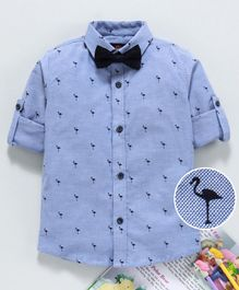 Robo Fry Full Sleeves Shirt Flamingo Print With Bow - Blue