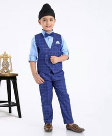 Robo Fry Full Sleeves Shirt With Trouser & Waistcoat Bow Applique - Blue