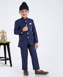 Robo Fry Full Sleeves Striped Coat & Trouser Set - Blue