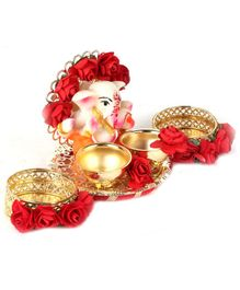 Passion Petals Tika Thali With Lord Ganesh & Two Katoris For Roli Chawal - Gold