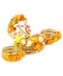 Passion Petals Tika Thali With Lord Ganesha & Two Katoris For Roli Chawal - Gold