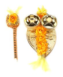 Passion Petals Floral Embellished Leaf Shaped Metal Tika Stick & Thali Set - Yellow