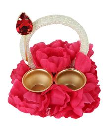 Passion Petals Floral Embellished Tika Thali With Pearl Studded Handle - Fuchsia