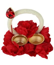 Passion Petals Floral Embellished Rakhi Tika Thali With Pearl Studded Handle - Red