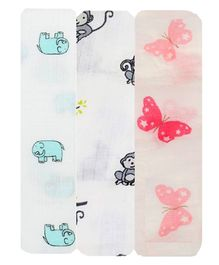 Mom's Home Cotton Muslin Swaddle Wrap Elephant, Monkey and Butterfly Print Pack of 3 - Multicolour
