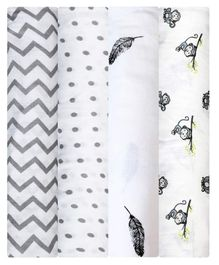 Mom's Home Cotton Muslin Swaddle Wrap Pack of 4 - Grey