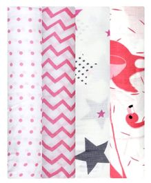 Mom's Home Cotton Muslin Swaddle Wrap Pack of 4 - Pink