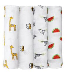 Mom's Home Cotton Muslin Swaddle Wrap Jungle Theme Pack of 4 - Multicolour